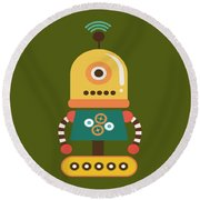Bright And Colorful Robot Toy Round Beach Towel