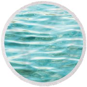 Bright Aqua Water Ripples Round Beach Towel
