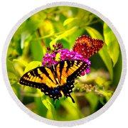 Bright Butterflies Round Beach Towel