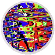 Bright Color Mix Abstract Round Beach Towel