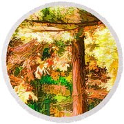 Bright Colored Leaves On The Branches In The Autumn Forest Round Beach Towel