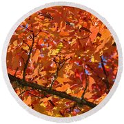Bright Colorful Autumn Tree Leaves Art Prints Baslee Troutman Round Beach Towel