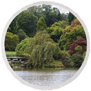 Bright Colors Of Autumn Trees On A Lake , Autumn Landscape. Round Beach Towel