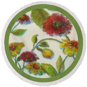 Bright Contemporary Floral  Round Beach Towel