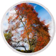 Bright Fall Colors Round Beach Towel
