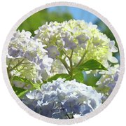 Bright Floral Art Pastel Blue Purple Hydrangeas Flowers Baslee Troutman Round Beach Towel