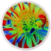 Bright Flower Round Beach Towel