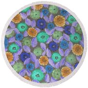 Bright Flowers Round Beach Towel