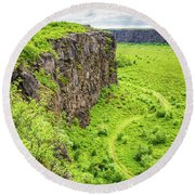 Bright Green Asbyrgi Canyon In Iceland Round Beach Towel