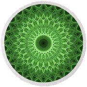 Bright Green Mandala Round Beach Towel
