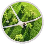 Bright Green Spring Meadow Aerial Photo Round Beach Towel