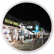 Bright Lights On The Boards Round Beach Towel