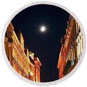 Bright Moon In Paris Round Beach Towel by Elena Elisseeva