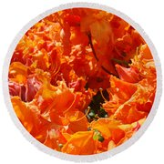 Bright Orange Rhodies Art Prints Canvas Rhododendons Baslee Troutman Round Beach Towel