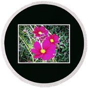 Bright Pink Flowers Round Beach Towel