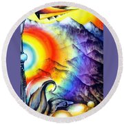 Bright Rainbow And Mountains. Cyborg's Land Round Beach Towel
