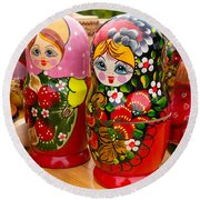 Bright Russian Matrushka Puzzle Dolls Round Beach Towel