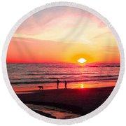 Bright Sunset Round Beach Towel