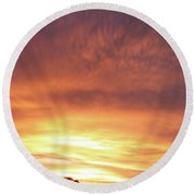 Bright Sunset Round Beach Towel