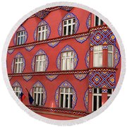 Brightly Colored Cooperative Business Bank Building Or Vurnik Ho Round Beach Towel