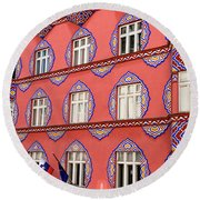 Brightly Colored Facade Of Cooperative Business Bank Building Or Round Beach Towel