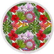Brightly Colored Tropical Flowers And Ferns  Round Beach Towel