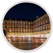 Brightly Lit Midnight - Plaza Mayor In Madrid Spain Round Beach Towel