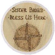 Brigid's Cross Blessing Woodburned Plaque Round Beach Towel