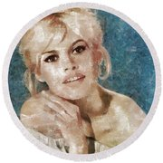 Brigitte Bardot, Actress Round Beach Towel
