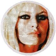 Brigitte Bardot By Mary Bassett Round Beach Towel