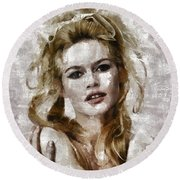 Brigitte Bardot, Vintage Actress Round Beach Towel