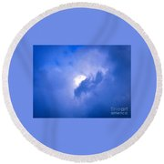Brilliant Blue Cloud Formation With Sun Glow Round Beach Towel