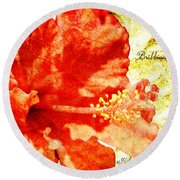 Brilliant Hibiscus Round Beach Towel