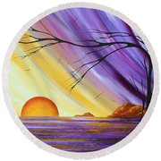 Brilliant Purple Golden Yellow Huge Abstract Surreal Tree Ocean Painting Royal Sunset By Madart Round Beach Towel