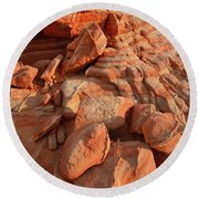 Brilliantly Colored Sandstone At Sunrise In Valley Of Fire Round Beach Towel