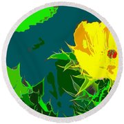 Brimstone Yellow Round Beach Towel