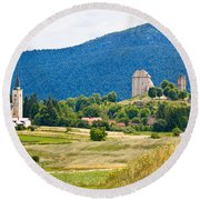 Brinje Village In Nature Of Lika Round Beach Towel