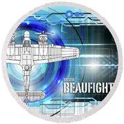 Bristol Beaufighter Blueprint Round Beach Towel