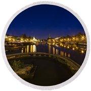 Bristol Docks By Night  Round Beach Towel