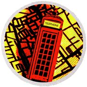 Brit Phone Box Round Beach Towel