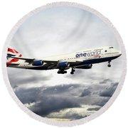 British Airways 747 G-civi Round Beach Towel