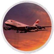 British Airways A380 G-xlef Round Beach Towel
