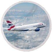 British Airways Airbus A380-841 Round Beach Towel