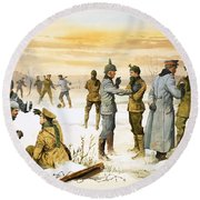 British And German Soldiers Hold A Christmas Truce During The Great War Round Beach Towel