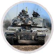 British Army Challenger 2 Main Battle Tank   Round Beach Towel