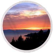 British Columbia Sunset Round Beach Towel