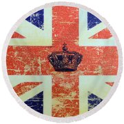 British Flag And Royal Crown Round Beach Towel