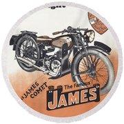 British James Comet Motorcycle  1948 Round Beach Towel