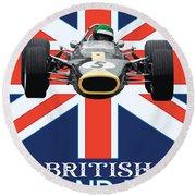 British Lotus Round Beach Towel