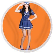 British Navy Blue Pin Up Girl Saluting Round Beach Towel